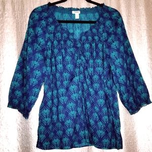 Old Navy BNWOT XL peacock feather top/blouse 🦚